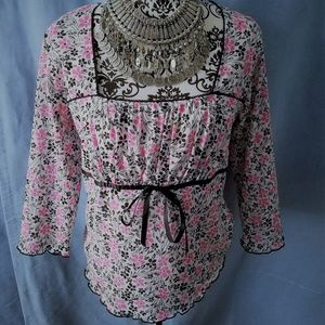 Fashion Bug Floral flower pink black blouse top XL